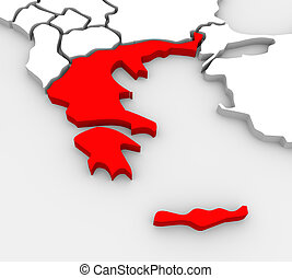Greece Abstract Illustrated 3D Map Southern Europe