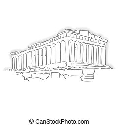 Greece Acropolis Temple Sketch. Line Art drawing by hand....