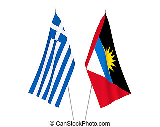 Greece and Antigua and Barbuda flags - National fabric flags...