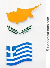 Greece and Cyprus flags - Greece and Cyprus flag on white