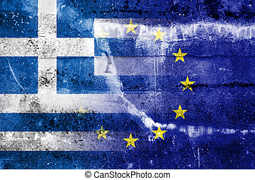 Greece and European Union Flag painted on grunge wall. The...