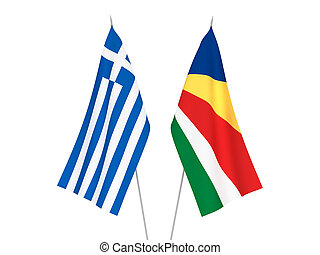 Greece and Seychelles flags - National fabric flags of ...
