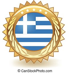 Gold badge with the flag of Greece.