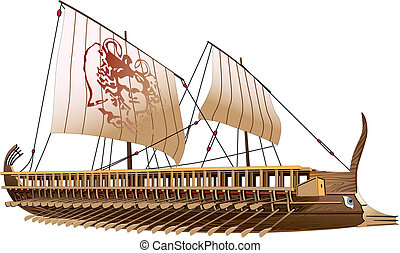 Greece bireme - Detailed image of ancient military ship with...
