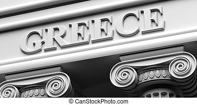 GREECE building logo concept. White ionic order pillars background. 3d illustration