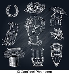 Greece Chalkboard Elements Set