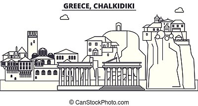 Greece, Chalkidiki line skyline vector illustration. Greece,...