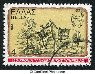 Postrider - GREECE - CIRCA 1978: stamp printed by Greece, ...