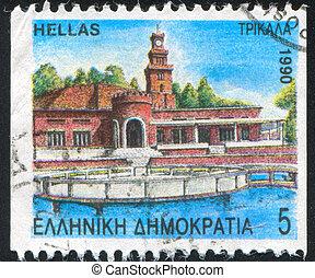 Trikkala fort and clock tower - GREECE - CIRCA 1990: stamp ...
