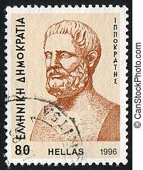 GREECE - CIRCA 1996: stamp printed by Greece, shows Hippocrates, circa 1996