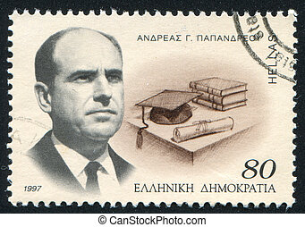 Andreas Papandreou - GREECE - CIRCA 1997: stamp printed by...