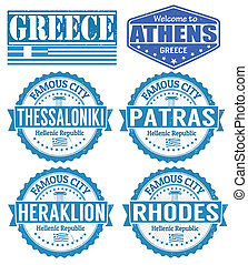 Greece cities stamps - Set of grunge rubber stamps with...