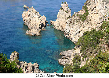 greece., corfu, paleokastrica, kust