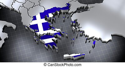 Greece - country borders and flag - 3D illustration