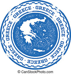 Greece Country Stamp - Distressed grunge rubber stamp...