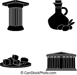 Greece, country, tradition, landmark .Greece set collection icons in black style vector symbol stock illustration web.