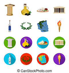 Greece, country, tradition, landmark .Greece set collection icons in cartoon, flat style bitmap, raster symbol stock illustration web.
