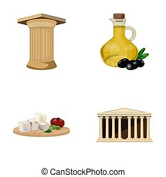 Greece, country, tradition, landmark .Greece set collection icons in cartoon style raster, bitmap symbol stock illustration web.