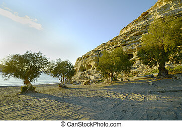 Greece, Crete - Greece, beach and caves in Matala on the...