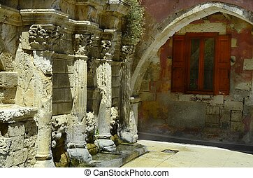 Greece, Crete, Raimondi fountain in Rethymno