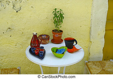 Greece, Crete, table with ceramics
