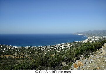 Greece, Crete, view to Stalida - aka Stalis - village and...