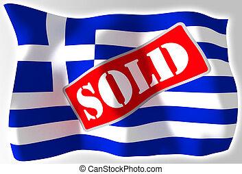 greece crisis concept flag