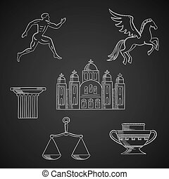 Greece culture and art chalk icons