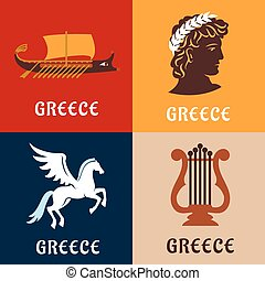 Greece culture, history and mythology icons