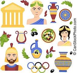Greece decorative set - Greece decorative icons set with...