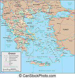 Greece - Vector map. Marked geographical and topographical...