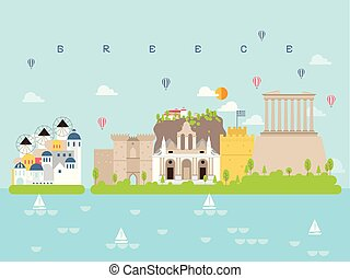 Greece Famous Landmarks Infographic Templates for Traveling Minimal Style and Icon, Symbol Set Vector Illustration Can be use for Poster Travel book, Postcard, Billboard.