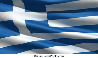 Greece flag, 3d animation. perfect seamless loop