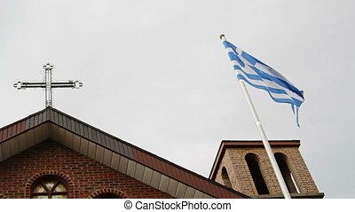 Greece flag and Greek Orthodox Chur