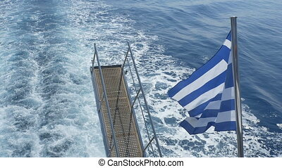Greece Flag and Stair on Passenger Ship