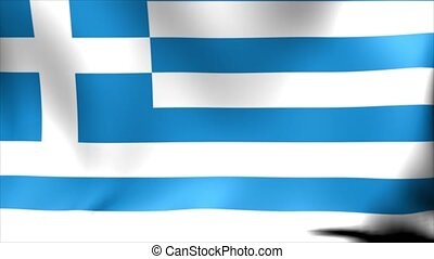 Greece Flag. Background Seamless Looping Animation.