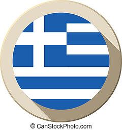 Greece Flag Button Icon Modern