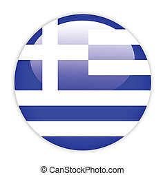 Greece flag button on white