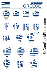 Greece Flag Collection. Big set for design.