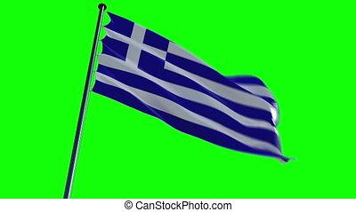 Greece Flag, greenscreen and alpha
