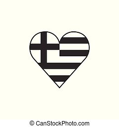 Greece flag icon in a heart shape in black outline flat design