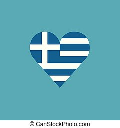Greece flag icon in a heart shape in flat design