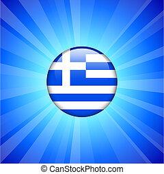 Greece Flag Icon on Internet Button Original Vector...