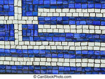 Greece Flag in Mosaic