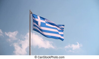Greece flag in slow motion