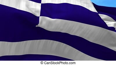 Greece Flag in the Wind - Close up Greece flag blowing in...