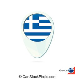 Greece flag location map pin icon on white background.