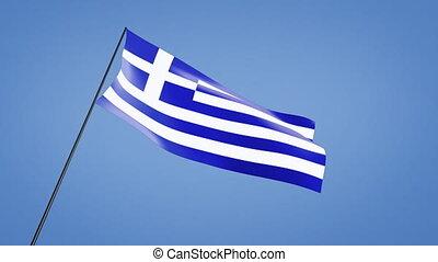 Greece flag low angle