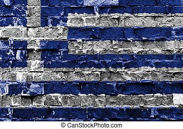 Greece flag on brick wall