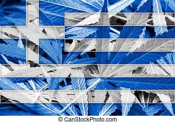 Greece Flag on cannabis background. Drug policy. ...